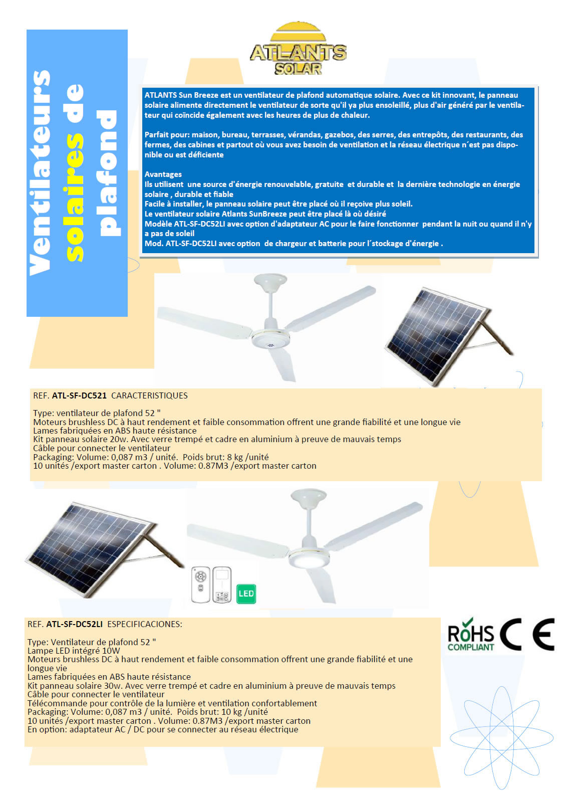 VENTILATEUR: SunBreeze Ventilateur Solaire De Plafond